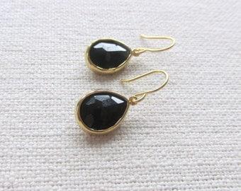 Black Teardrop Earrings, Gold Teardrop Dainty Modern Earrings, Minimalism, Bridal