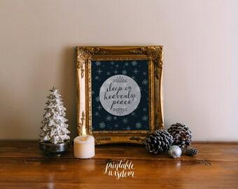 Christmas wall art printable winter decor sleep in heavenly peace holiday decoration print INSTANT DOWNLOAD art print poster christmas decor