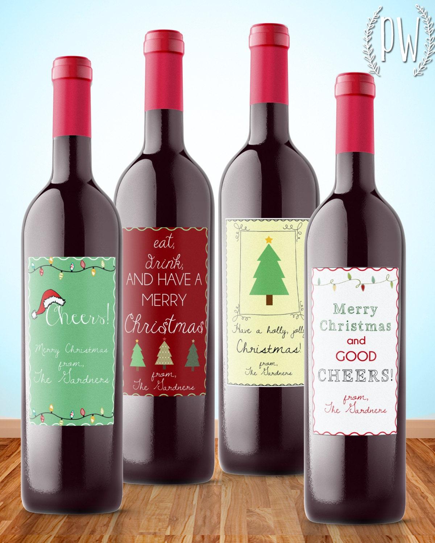 Printable Wine Bottle Labels: Christmas Wine Label Printable Gift Sticker Wine Bottle Tag