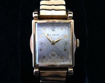 Bulova Watch Ambassador Model, Art Deco Swiss Watch, 10k Gold Filled Rectangular Hourglass Design, Superb Quality 17 Jewels, FREE SHIPPING