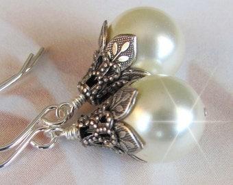 Vintage Style Pearl Bridal Earrings, Pearl Earrings, Antique Style Pearl Drop Bride Earrings, Silver, Bridesmaid Gift, Pearl Wedding Jewelry