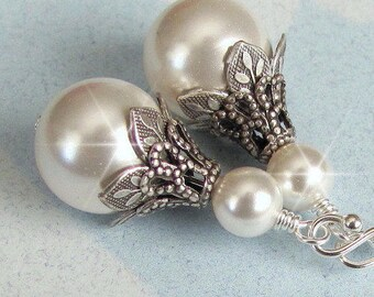 Vintage Style Earrings, Wedding Earrings, Antique Style Bridal Pearl Earrings, Vintage Style Wedding Jewelry, Pearl Drop, Ivory White Silver