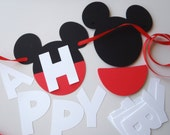 Mickey Mouse Birthday Banner DIY Kit Optional Custom Name with Free Gift / 1st Birthday Party Decorations SHIPS FAST by FeistyFarmersWife