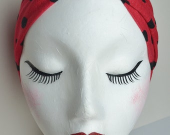 Vintage Retro Style Red and Black Polkadot Spot Stretch Jersey Headband