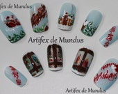 Handpainted Fake Nails Winter Holidays (Christmas eve with Santa's Sleigh)