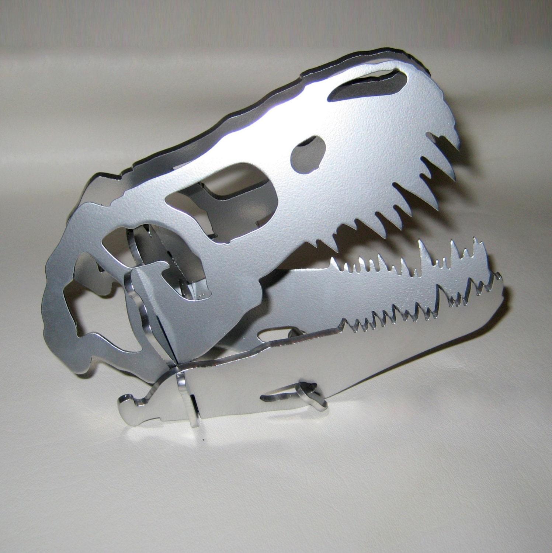 Painted Steel Dinosaur Skull T Rex Metal Desk Decoration Cnc