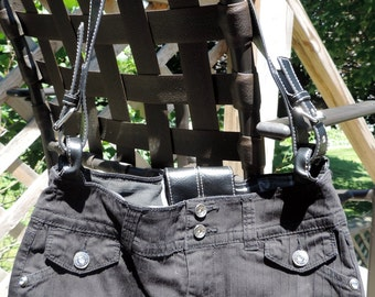 Large Lined Black Purse / Handbag / Tote Bag, Handmade from Upcycled/ Recycled Pants, Inside Completely Lined w/ Pockets