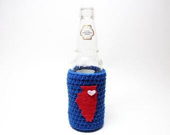 Illinois Beer Cozy, Crochet State Accessories, Coffee Cozy, Bottle Cozy, Chicago Cubs Can Holder, Drink Holder
