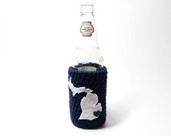 Michigan Beer Cozy, Crochet State Accessories, Can Cozy, Coffee Cozy, Bottle Holder, Drink Holder