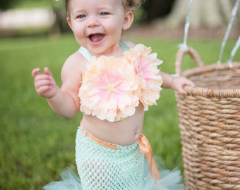 Mermaid Outfit, Little Mermaid, Mermaid Costume, Mermaid Tail, Beach Theme, Beach Birthday, Photography Prop, Baby Bikini, OOC