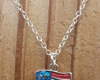 American Flag Necklace - United States Flag Charm - Red White and Blue