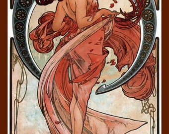 Beautiful Vintage Art Nouveau Mucha Fridge Magnet Salmon Pink Red Hair Flowing