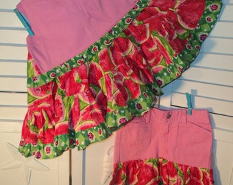 Watermelon and Ladybugs, Upcycled Pink Denim Jeans Twirly Swing top and skirt! Size 6/7