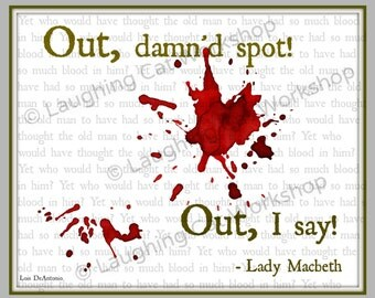 Shakespeare download Printable school art OCD art English teacher poster language art drama theater poster Lady Macbeth back to school decor