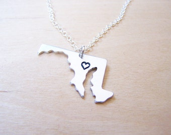 Hand Stamped Heart Maryland State Sterling Silver Necklace / Gift for Her