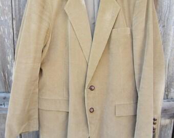 80s Beige Corduroy Sport Coat by Christopher Hayes, Men's M-L // Vintage Single-Breasted Jacket