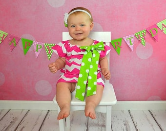 Hot Pink Lime Green Chevron Polka Dot Peasant Dress - Baby Girl