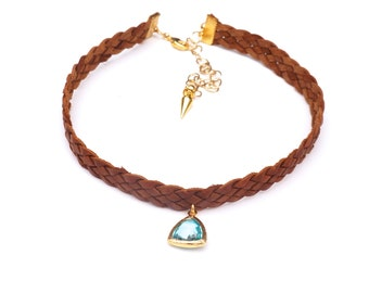 Aqua Drop Brown Leather Choker