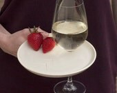 2 appetizer party plates with wine glass holder, set of two.