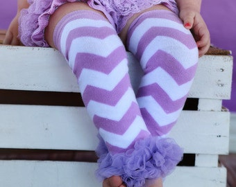 Purple Lavender Chevron Leg Warmers Baby Outfit Leggings Pants with Tulle Ruffles, Baby Girl Chiffon Pants, Choose Color Lilac Purple