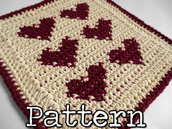 Valentine Heart Dishcloth Crochet PATTERN Written with Chart- Red Ecru Holiday Decor Gift kitchen Tapestry