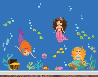 MERMAIDS Wall Decals, Reusable Fabric Wall Decals, Girls Wall Decal