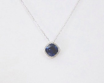 14k White Gold Cushion Cut Blue Sapphire Corundum Gemstone Necklace with Diamond Halo