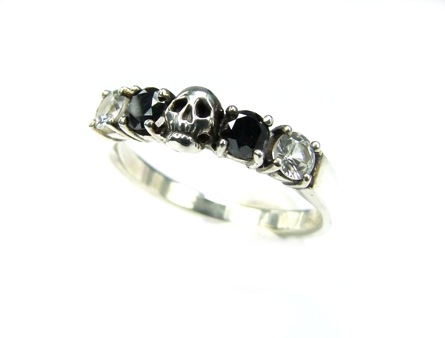 black diamond band mens skull wedding rings Skull Wedding Ring Black Diamond Sterling Engagement Ring Goth Psychobilly Wedding Band Wedding Set Jewel Ring All Sizes