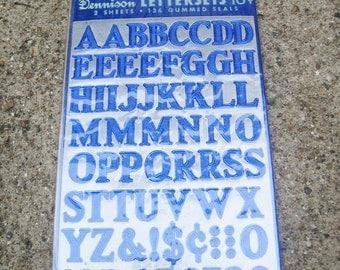Vintage Dennison Gummed Foil Lettersets Letter Sets Blue 2 Sheets 136 Seals Complete Set