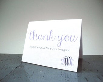 Thank you from the FUTURE MRS. cards - Wedding Shower Thank You Cards - Bride to be - Customize - Wedding Colors - 16 Cards & Envelopes