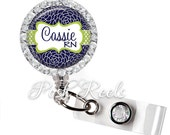 Retractable ID Badge Reel - Personalized Navy Floral and Apple Green Badge ID Reel, Rhinestone Badge Reel - 0710