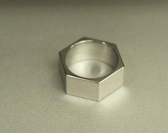 Titanium or Silver Hex Nut Ring, Benzine Molecule, Wedding Minimalist Band