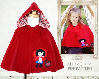 Cape pattern PDF, childrens sewing pattern, girls cape pattern, Costume pattern, girls cape pattern, girls sewing pattern pdf, MAISIE