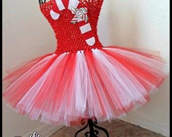 Candy Cane Tutu dress| Holiday tutu dress| Candy Cane Tutu | Christmas tutu dress | Newborn- child 8/10 listing!