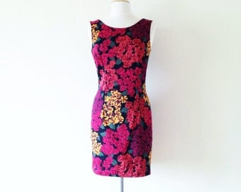 floral dress vintage / red fitted dress / 90s short dress / sleeveless / summer