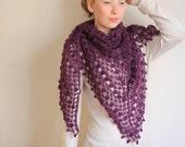 BODACIOUS PURPLE SHAWL! Spring wedding shawl, Bridal purple shawl, shrugs shawl, lilac wool shawl, triangular shawl, ready to shipping