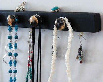 Black Leopard Organizer...Jewelry Board & Organizer, Key Hanger, Closet Organizer...Hand Decorated Knobs Gift Idea Teens