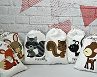 """Party Favor Bags Forest Woodland group 2 Animals For Baby Shower and Birthday's for treats and gifts Personalized 5"""" X 7"""" or 6"""" X 8"""" Qty 6"""