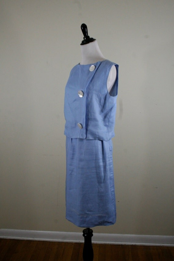 1960s powder blue pencil skirt set large pearl buttons