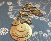 """Miscarriage Tri-Stack Necklace reads """"Someone I Love Was Never Born"""" with initial charm"""