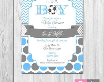 Soccer Baby Shower Invitation - Chevron Stripes and Polka Dots - Blue and Grey - DIY - Printable