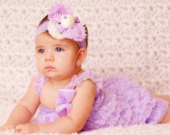 lace lavender romper and headband SET, petti romper,baby headband, flower headband,vintage inspired headband and lace petti romper