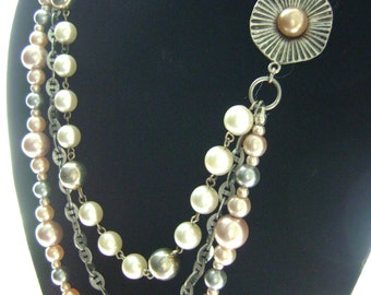 Pearl and Pewter, Statement Necklace, Multi Strand