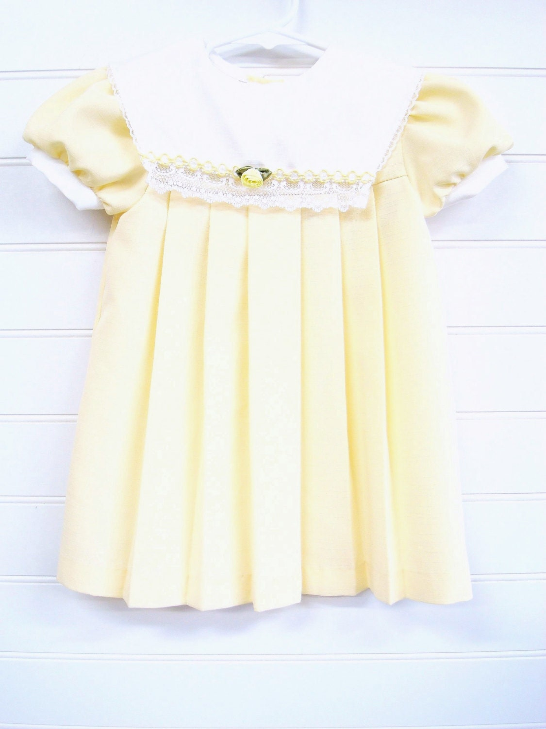 Vintage Baby Clothes Baby Girl Dress Yellow Pleated Baby