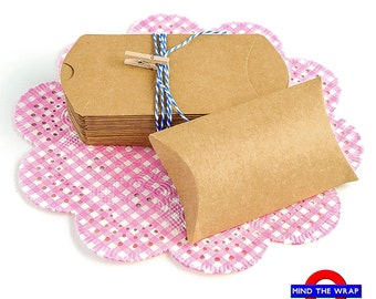 "50 - Small Kraft Pillow Boxes  2-1/8"" x 3-1/4"" x 7/8"" - Cute Product Packaging, Wedding Party Favors, Gift Card Holder"