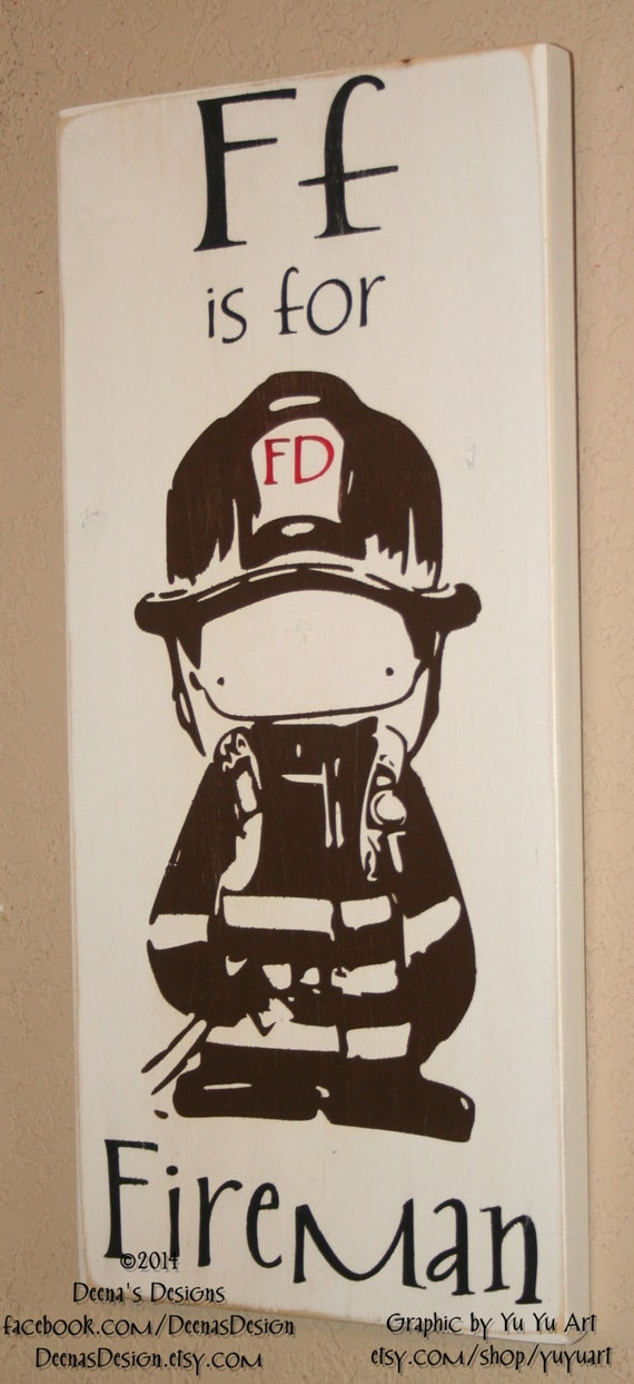 Firefighter Decor Distressed Wall Decor Custom Wood Sign
