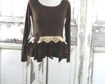 Sale Brown Knit Top Bustle Top Eco Fashion Upcycled Clothing Boho Chic Romantic Clothing