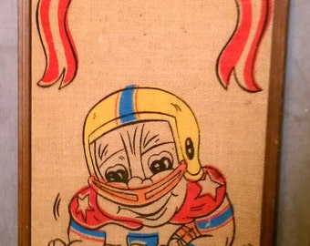 Vintage Retro Adorable All American Little League Kid Football Player Burlap Bulletin Board 1971