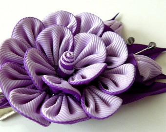 Kanzashi fabric flower hair clip, Purple fabric flower. Purple kanzashi flower. Purple hair clip.