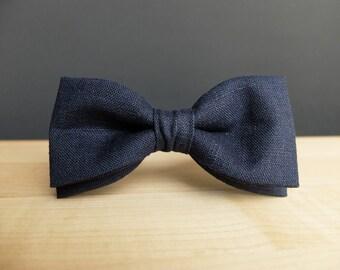 Navy Blue Mens Bow Tie dark blue bow ties wedding bow tie linen groomsmen gift adjustable bow tie gift for men birthday gift for grandpa